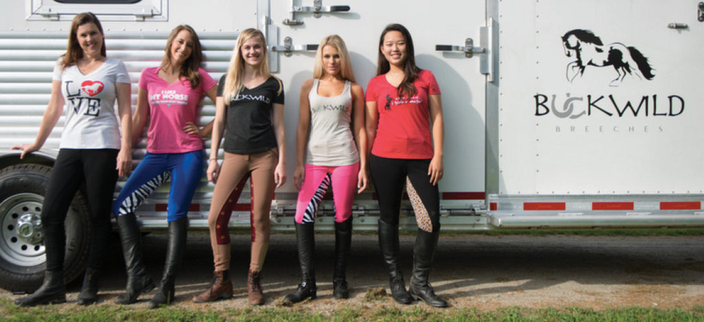 Buckwild's Favorite Riding Tee Shirts - five female equestrians wear a range of colors and styles (V Neck shirts, Tank Tops and Scoop Necks) in this Tee that is perfect for horse riding or everyday  wear