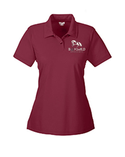 Maroon Fitted Women's Polo Shirt with Buckwild Logo.