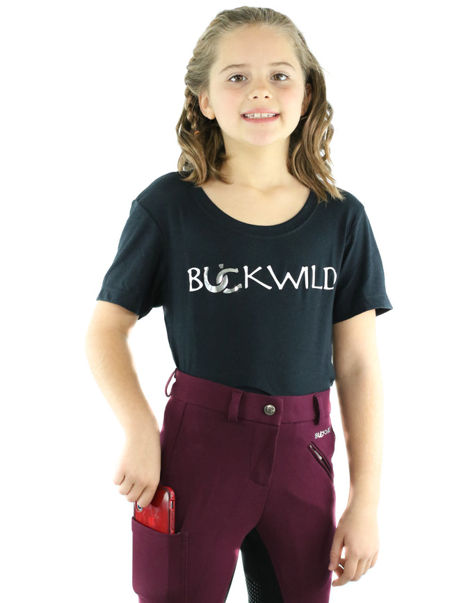 Kid's Mid Waist Breech | Maroon + Black | Side Phone Pocket