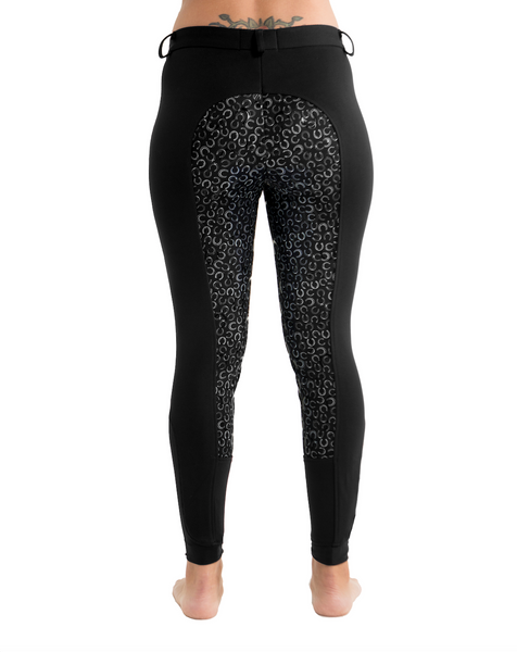 Curvy Mare High-Waist Breech | Black + Horse Shoes