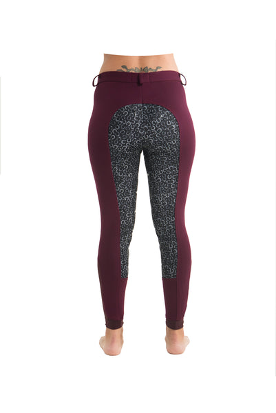 Curvy Mare High-Waist Breech | Maroon + Horse Shoes