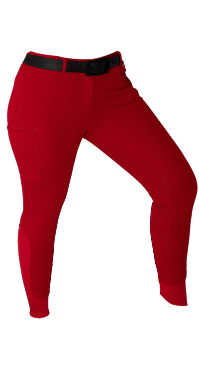 Signature Mid-Waist Winter Breech | Red + Red | Side Phone Pocket