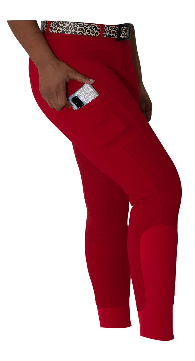 Curvy Mare | Winter Breech | Red + Red | Side Phone Pocket