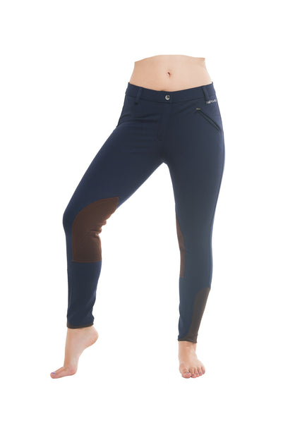 Signature Mid-Waist Knee Patch Breech | Navy + Brown