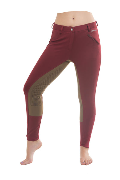 Signature Mid-Waist Winter Breech | Maroon + Tan