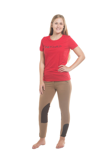Signature Mid-Waist Knee Patch Breech | Tan + Brown