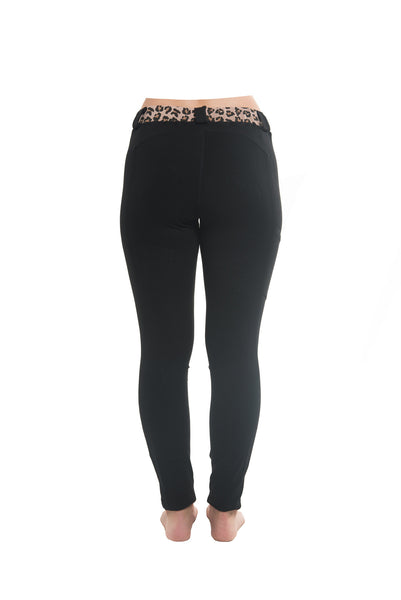 Riding Tights | Black + Leopard Waistband