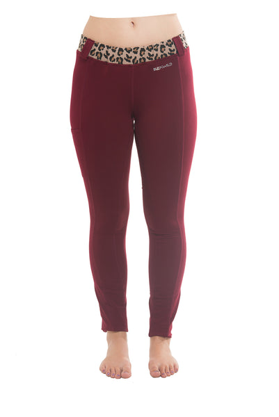 Riding Tights | Maroon + Leopard Waistband