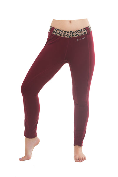 Buckwild Riding Tights With Side Pocket Maroon Leopard