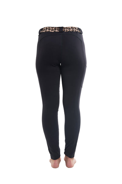Riding Tights | Gray + Leopard Waistband