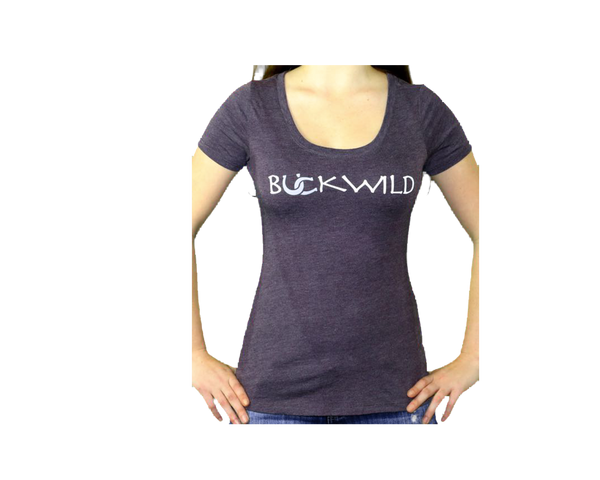 "Model wears women's scoop neck t-shirt with Buckwild logo front.  Back of shirt reads ""If you can see this, put me back on my horse"" written upside down."