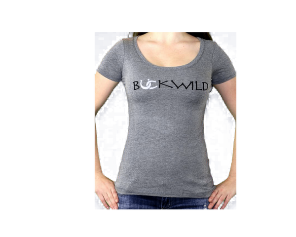 Model wears ladies gray scoop neck t-shirt with Buckwild logo front.