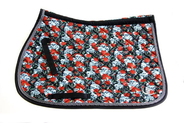 "Saddle Pad - All purpose ""Skulls & Roses"""