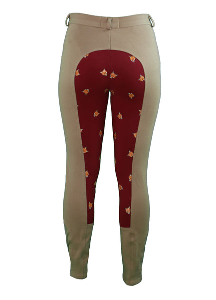 Back  View - Women's tan breeches with full seat in red and fox print pattern - part of the curvy mare womens riding apparel collection.