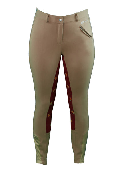Front  View - Women's tan breeches with full seat in red and fox print pattern - part of the curvy mare womens riding apparel collection.