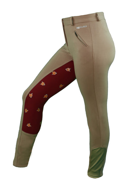 Side View - Women's tan breeches with full seat in red and fox print pattern - part of the curvy mare womens riding apparel collection.