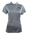 Gray Fitted Women's Polo Shirt with Buckwild Logo. Great as for riding lessons or for everyday.Buckwild 3 button Polo
