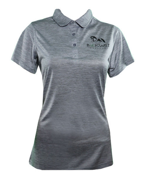 Gray Fitted Women's Polo Shirt with Buckwild Logo. Great as for riding lessons or for everyday.