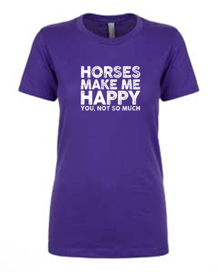 Favorite Tee | V-Neck | Horses Make Me Happy (Purple)