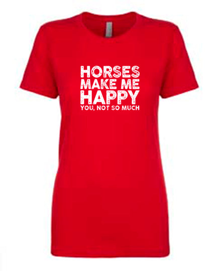 Favorite Tee | V-Neck | Horses Make Me Happy (Red)