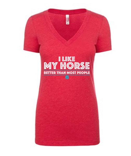"Women's Shocking Pink V-Neck Tee with Buckwild Logo with text ""I like my horse better than most people"""