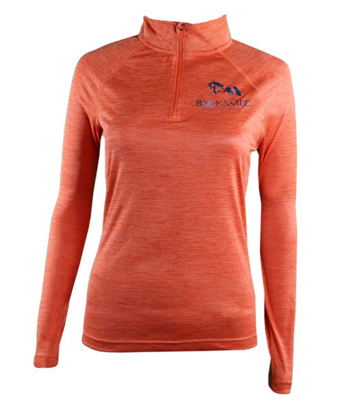 Women's Long Sleeve Performance Pull Over with Quarter Zip in Orange