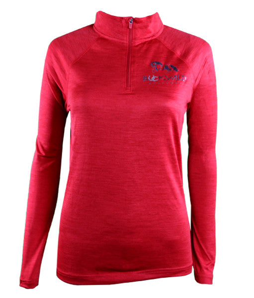 Women's Long Sleeve Performance Pull Over with Quarter Zip in Red