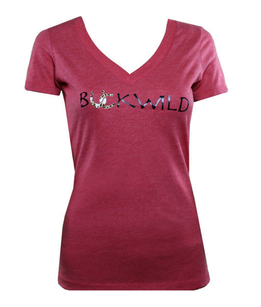 Ladies Riding Apparel: Women's Red V-Neck Tee with Buckwild Logo with leopard print.