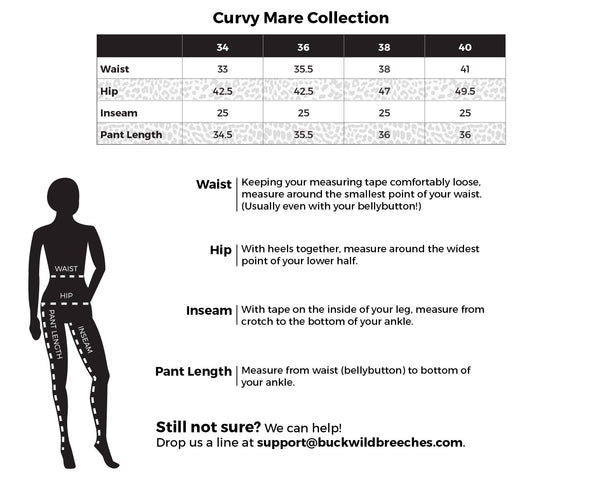 Ladies riding apparel size chart with measurements for Curvy Mare Collection.