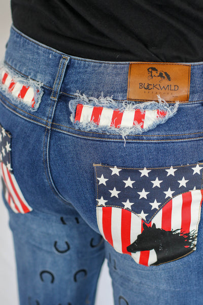Curvy Mare Western Boot Cut Jean Breech | American Flag
