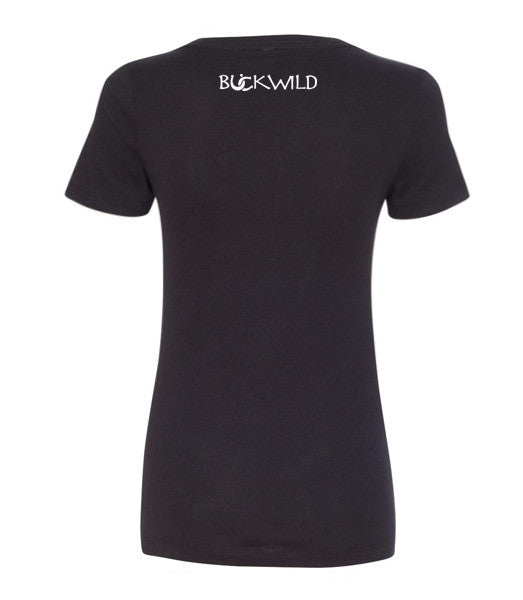 "Back view of: Black V-Neck Tee with text ""I need 3 coffees, 6 horses and like 12 millions dollars"" which has Buckwild logo"