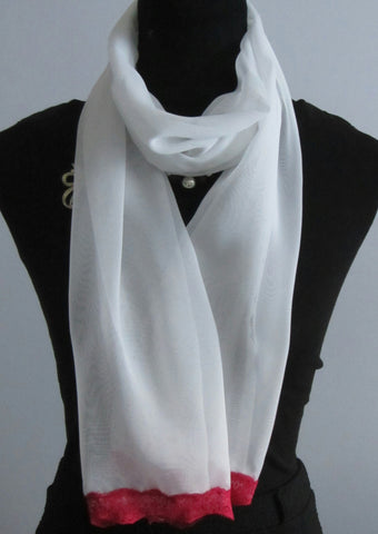 White Chiffon Scarf With Deep Pink Lace Trim