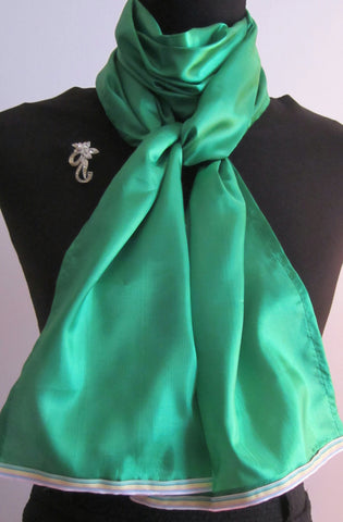 Ladies Green Scarf With Pastel Striped Trim. - Style Showroom
