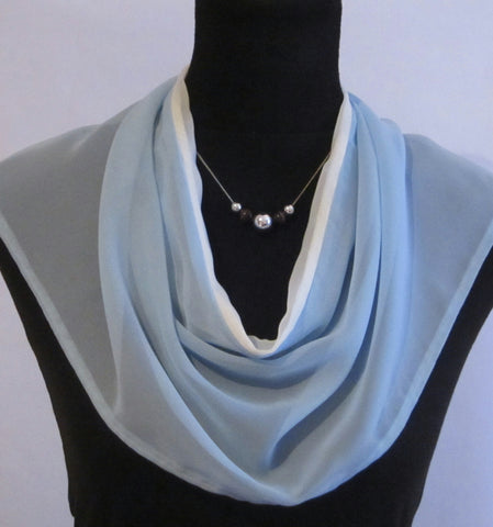 Bib style baby blue and white chiffon scarf with split at back