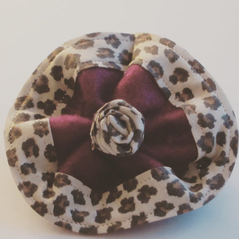 Ladies Burgundy Felt Corsage With Leopard Print Trim - Style Showroom
