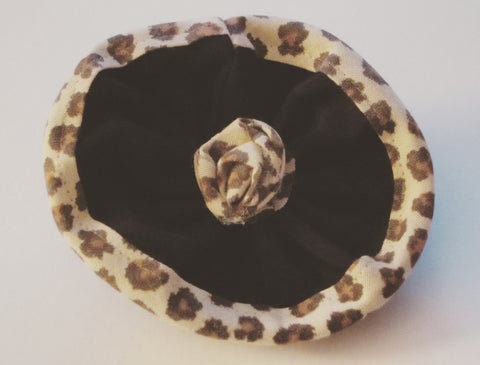 Ladies Black Corsage With Leopard Print Trim