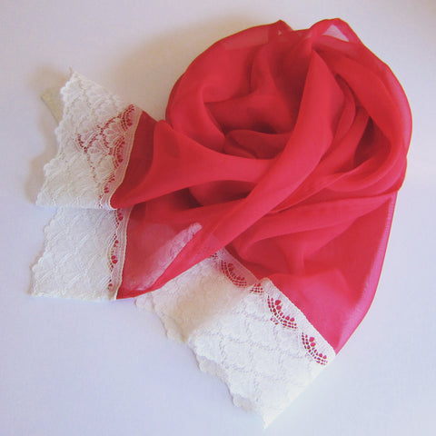 Red Chiffon Scarf With Cream Lace Trim - Style Showroom
