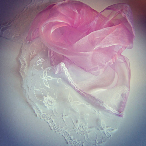 Pink Organza Scarf With White Lace Trim - Style Showroom