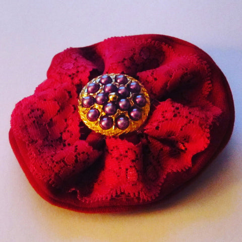 Ladies Red Corsage with Gold and Purple Button Centre