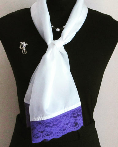 Lightweight Silk Ivory Scarf With Purple Lace Trim - Style Showroom