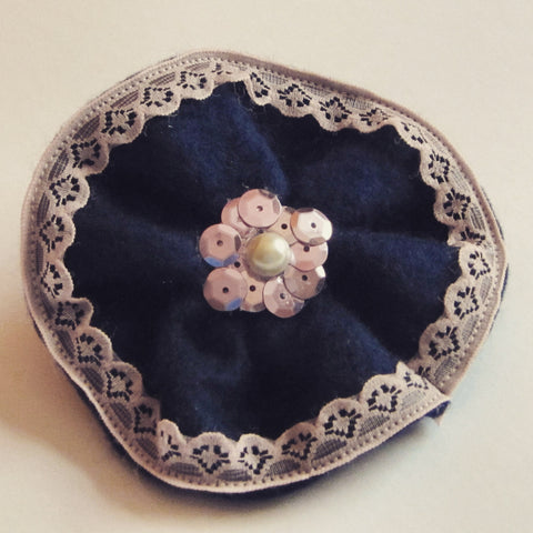 Ladies Navy Felt Corsage With Pink Sequins And Lace Trim