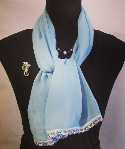 Baby Blue Chiffon Scarf With Floral Lace Trim - Style Showroom