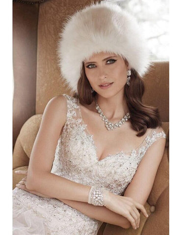 Classic style ladies faux fur hat for weddings and evening wear