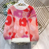 Ladies Autumn/Winter Floral Mohair Jumper