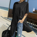 Ladies Round Neck Split Hem Smart Casual Tops