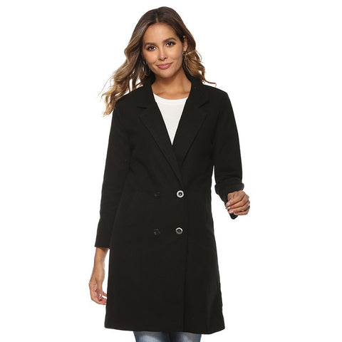 Ladies Autumn Winter Blazer Style Woolen Coat