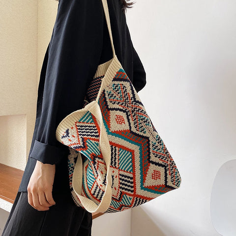 Knitted Aztec Design Tote Bag
