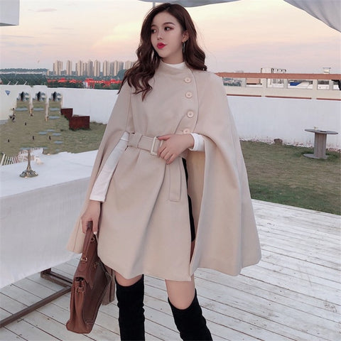 Elegant Ladies Poncho Style Winter Coat