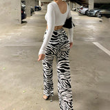 Women's Animal Print High Waist Trousers