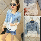 Ladies Denim Jacket With Beaded Collar And Lace Trim - Style Showroom